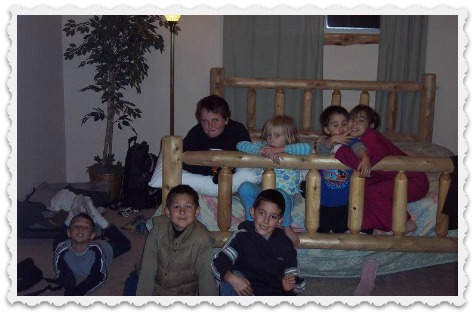 Three A's at Big Bear with cousins framed