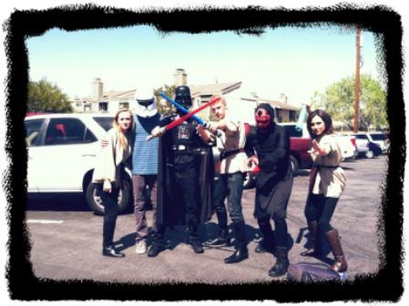 Alec & Friends:  Alec is behind the sabers