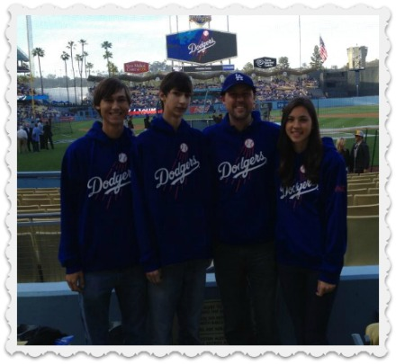 Brett & the A Team at a Dodgers' game