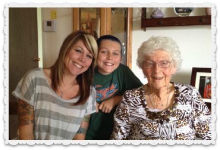 Heather, Noah & Great-Grandma Mary
