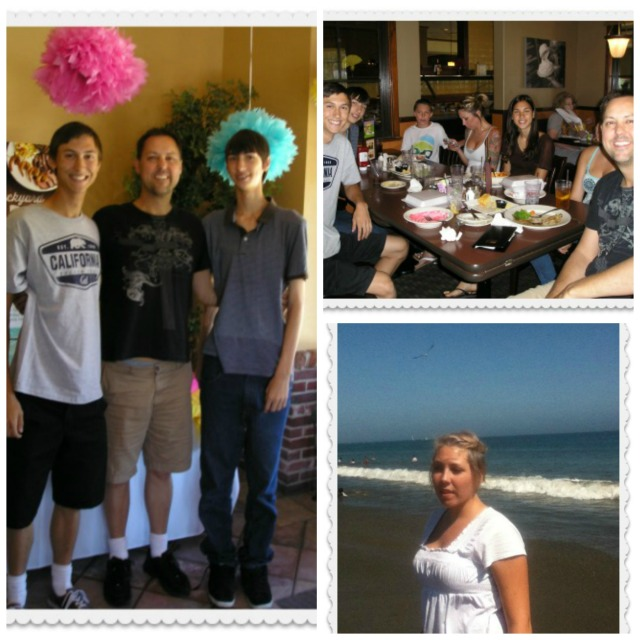 Left:  Alec, Brett, & Aaron; top right, group lunch; bottom right, Fiona in Santa Cruz