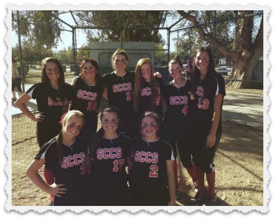 Aubrey, top right - Winning Softball Team